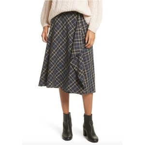NWT Vince Drape Front Plaid Skirt